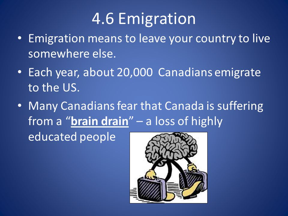4.6 Emigration Emigration means to leave your country to live somewhere else.