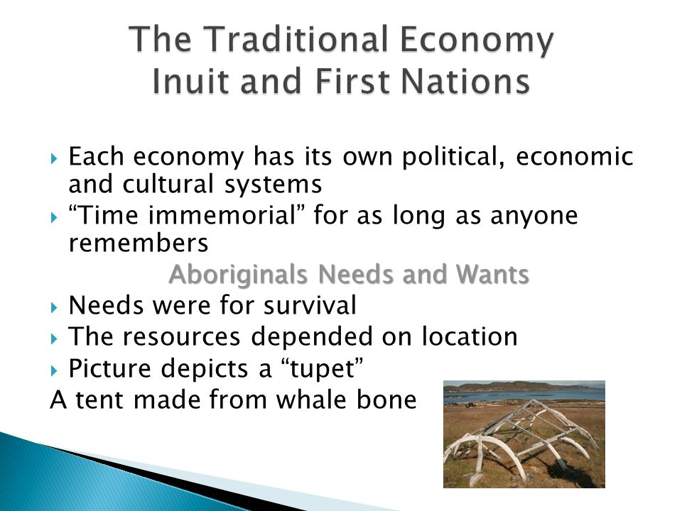  Each economy has its own political, economic and cultural systems  Time immemorial for as long as anyone remembers Aboriginals Needs and Wants Aboriginals Needs and Wants  Needs were for survival  The resources depended on location  Picture depicts a tupet A tent made from whale bone