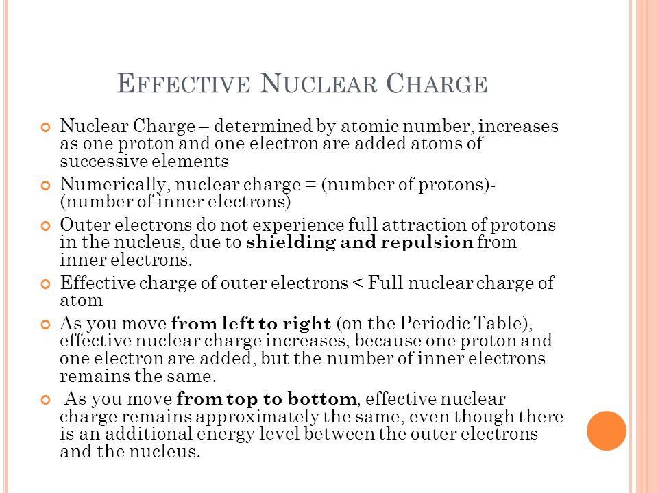 E FFECTIVE N UCLEAR C HARGE Nuclear Charge – determined by atomic number, increases as one proton and one electron are added atoms of successive elements Numerically, nuclear charge = (number of protons)- (number of inner electrons) Outer electrons do not experience full attraction of protons in the nucleus, due to shielding and repulsion from inner electrons.