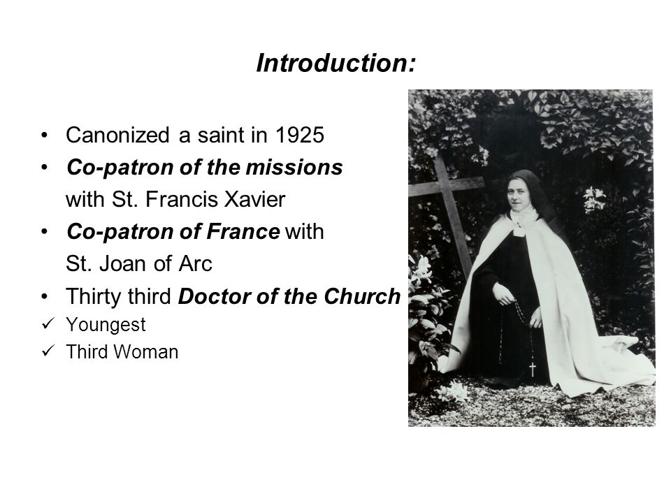 Introduction: Canonized a saint in 1925 Co-patron of the missions with St.