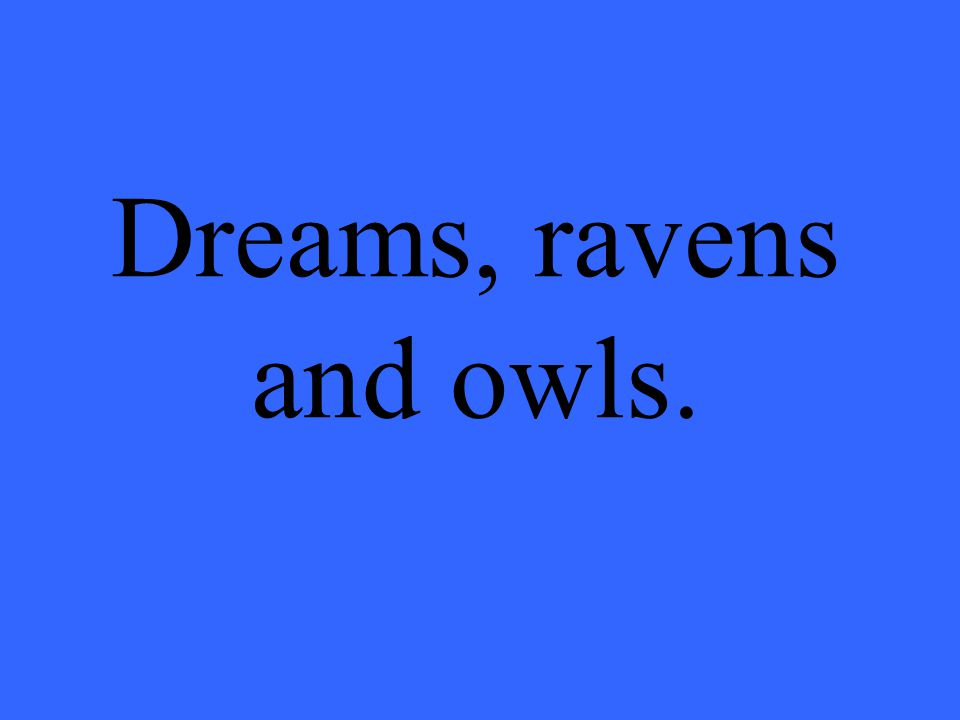 Dreams, ravens and owls.