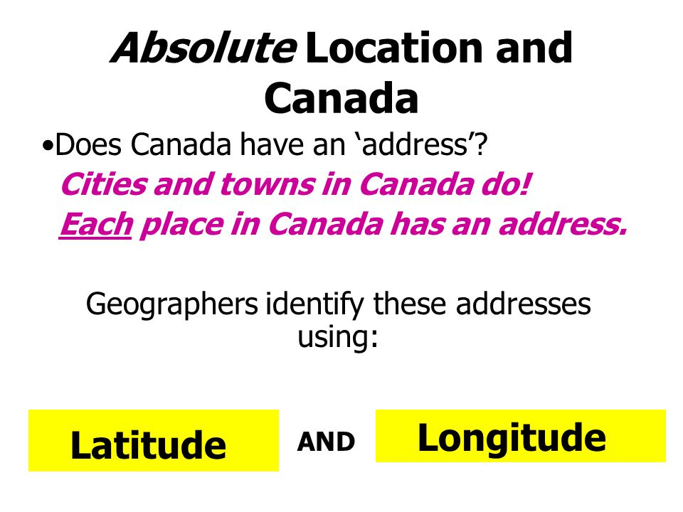 Geographers want to know Where is it? »Absolute Location (the address) »Relative Location (where is it in relation to other places?) Location Why is i