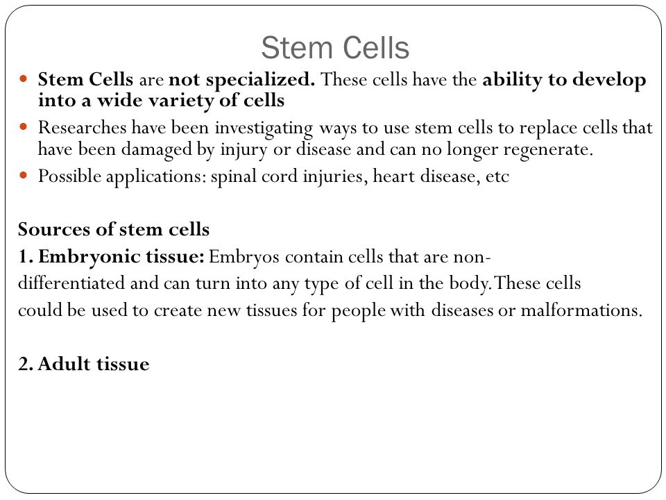 Stem Cells Stem Cells are not specialized. These cells have the ability to develop into a wide variety of cells Researches have been investigating way