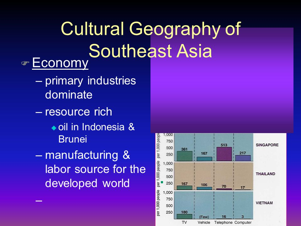 F Economy –primary industries dominate –resource rich u oil in Indonesia & Brunei –manufacturing & labor source for the developed world – Cultural Geo