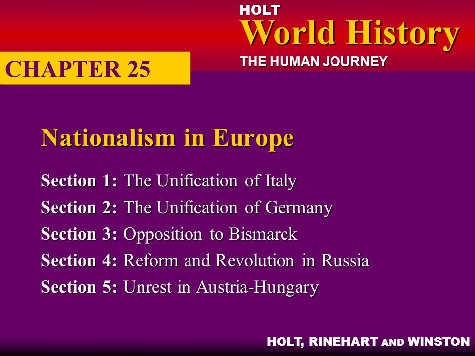 HOLT World History World History THE HUMAN JOURNEY HOLT, RINEHART AND WINSTON Nationalism in Europe Section 1:The Unification of Italy Section 2:The U
