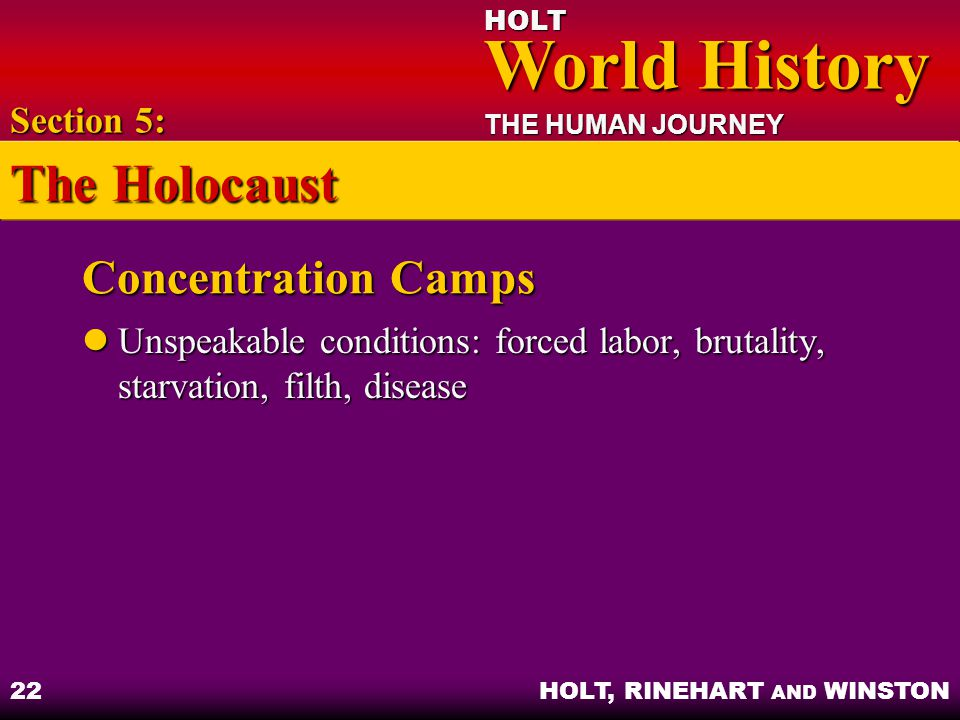 HOLT World History World History THE HUMAN JOURNEY HOLT, RINEHART AND WINSTON 22 Concentration Camps Unspeakable conditions: forced labor, brutality,