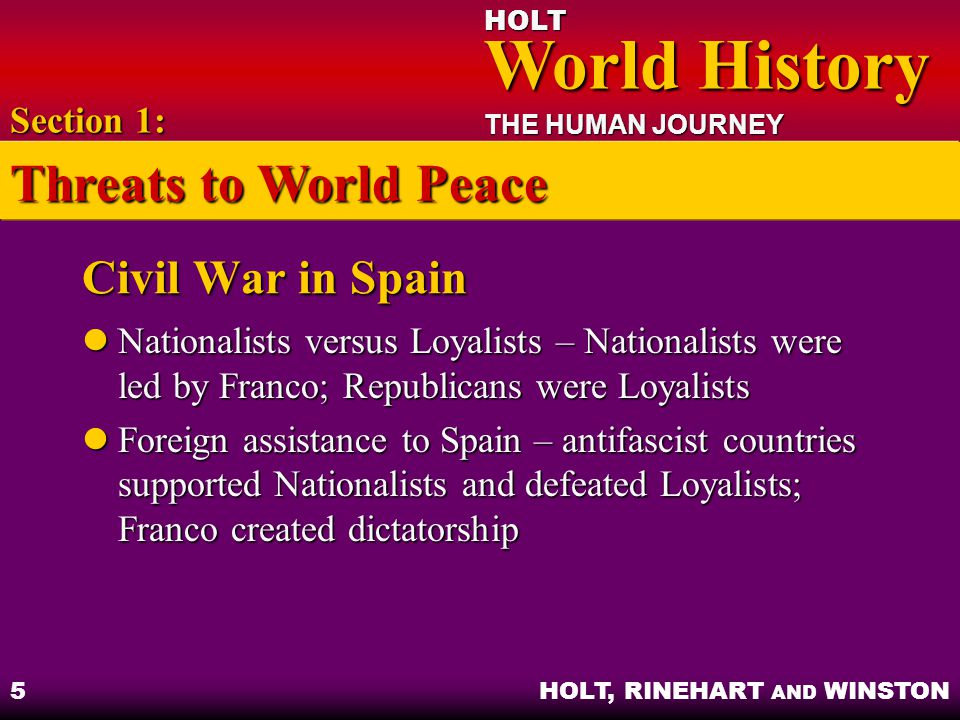 HOLT World History World History THE HUMAN JOURNEY HOLT, RINEHART AND WINSTON 16 Eastern Europe and the Mediterranean Mussolini invaded Egypt and Greece, but was driven out by British Mussolini invaded Egypt and Greece, but was driven out by British Germany took Yugoslavia, Greece, Crete Germany took Yugoslavia, Greece, Crete Rommel controlled Libya Rommel controlled Libya Section 4: The Soviet Union and the United States