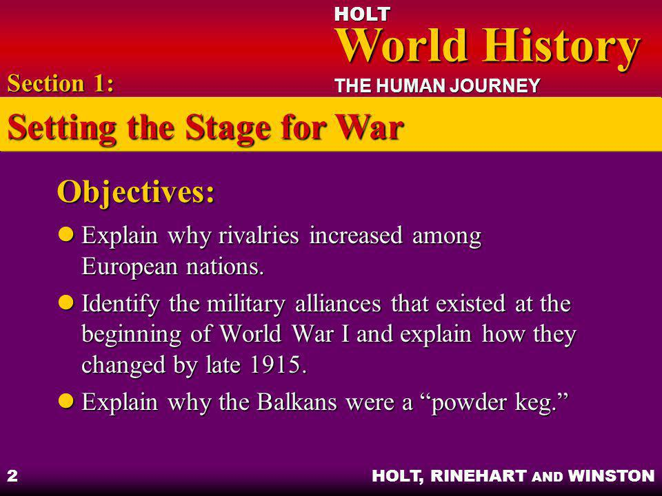 HOLT World History World History THE HUMAN JOURNEY HOLT, RINEHART AND WINSTON 2 Objectives: Explain why rivalries increased among European nations. Ex