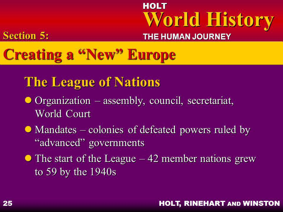 HOLT World History World History THE HUMAN JOURNEY HOLT, RINEHART AND WINSTON 25 The League of Nations Organization – assembly, council, secretariat,