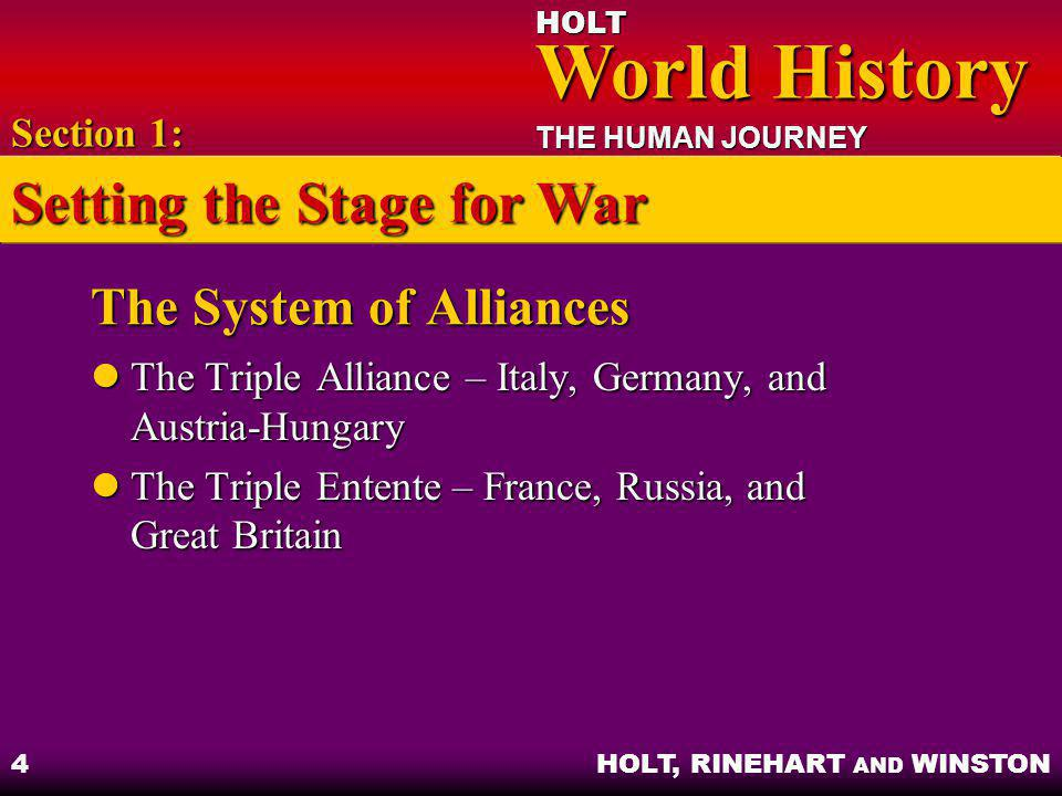 HOLT World History World History THE HUMAN JOURNEY HOLT, RINEHART AND WINSTON 4 The System of Alliances The Triple Alliance – Italy, Germany, and Aust