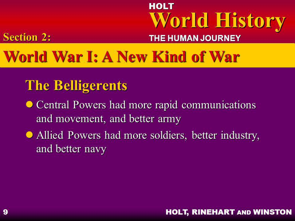 HOLT World History World History THE HUMAN JOURNEY HOLT, RINEHART AND WINSTON 9 The Belligerents Central Powers had more rapid communications and move