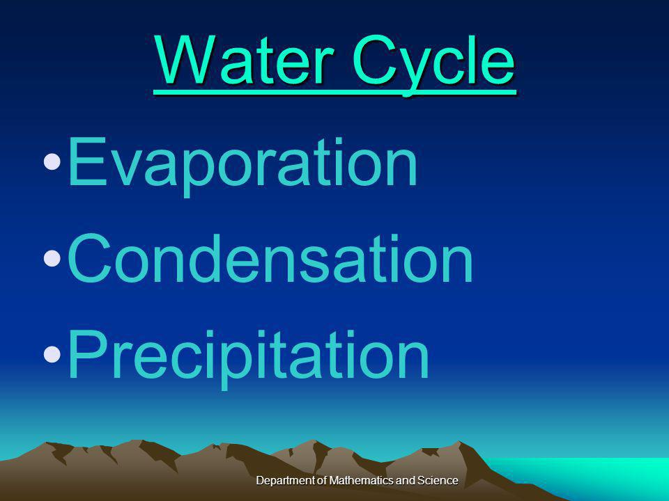 Water Cycle Water Cycle Evaporation Condensation Precipitation Department of Mathematics and Science