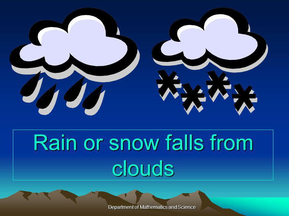 Rain or snow falls from clouds Department of Mathematics and Science