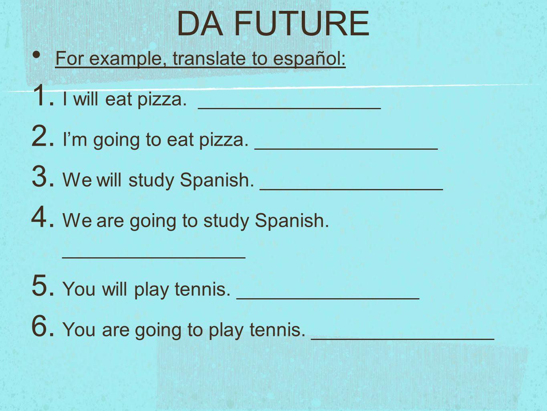 DA FUTURE For example, translate to español: 1.I will eat pizza.