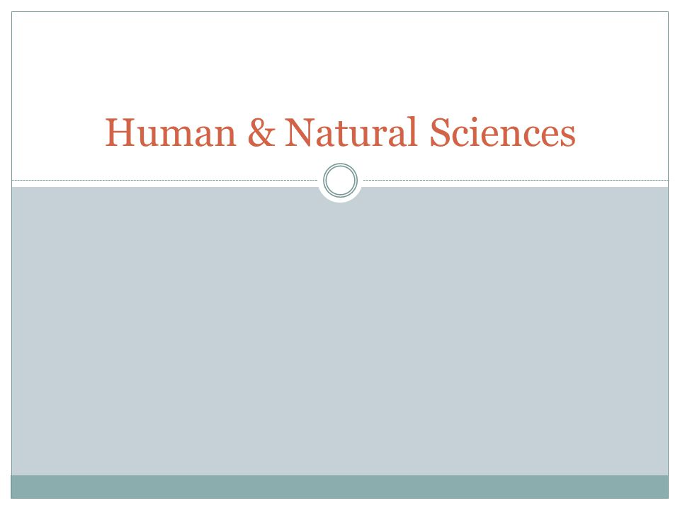 Human & Natural Sciences