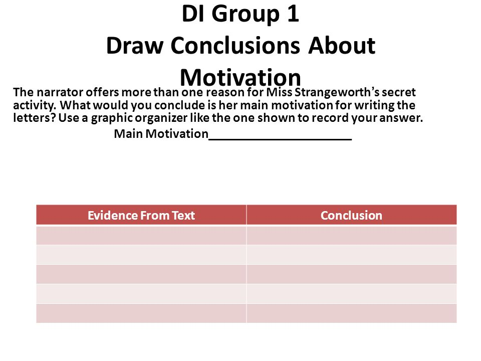 DI Group 1 Draw Conclusions About Motivation The narrator offers more than one reason for Miss Strangeworth's secret activity. What would you conclude