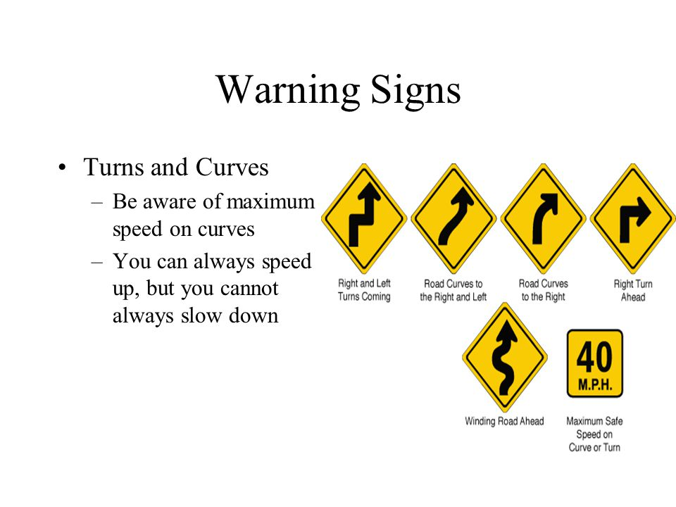 Warning Signs Turns and Curves –Be aware of maximum speed on curves –You can always speed up, but you cannot always slow down