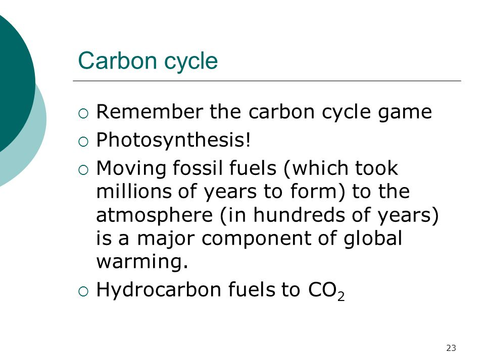 Carbon cycle  Remember the carbon cycle game  Photosynthesis!  Moving fossil fuels (which took millions of years to form) to the atmosphere (in hun
