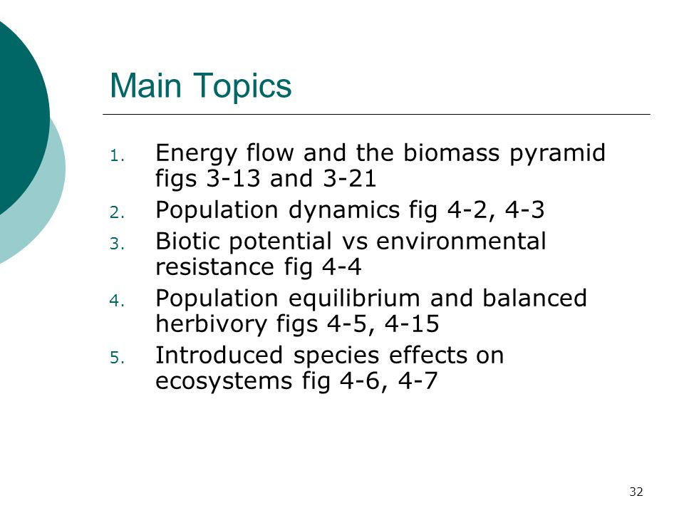 Main Topics 1.Energy flow and the biomass pyramid figs 3-13 and 3-21 2.