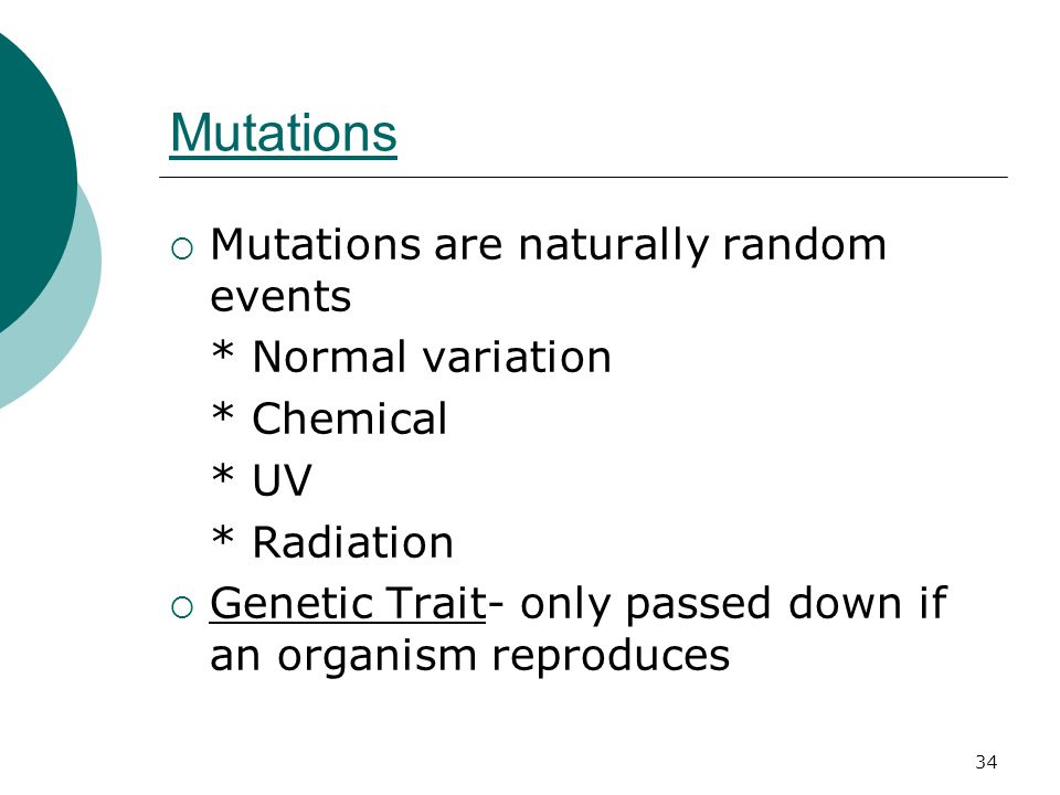 Mutations  Mutations are naturally random events * Normal variation * Chemical * UV * Radiation  Genetic Trait- only passed down if an organism reproduces 34