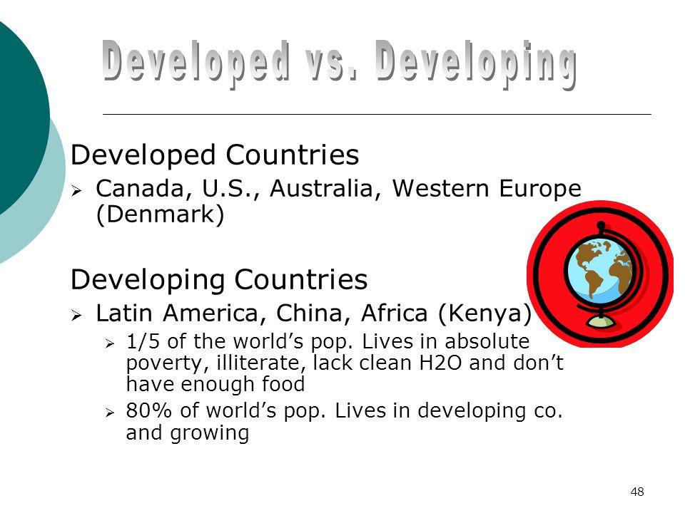 Developed Countries  Canada, U.S., Australia, Western Europe (Denmark) Developing Countries  Latin America, China, Africa (Kenya)  1/5 of the world's pop.