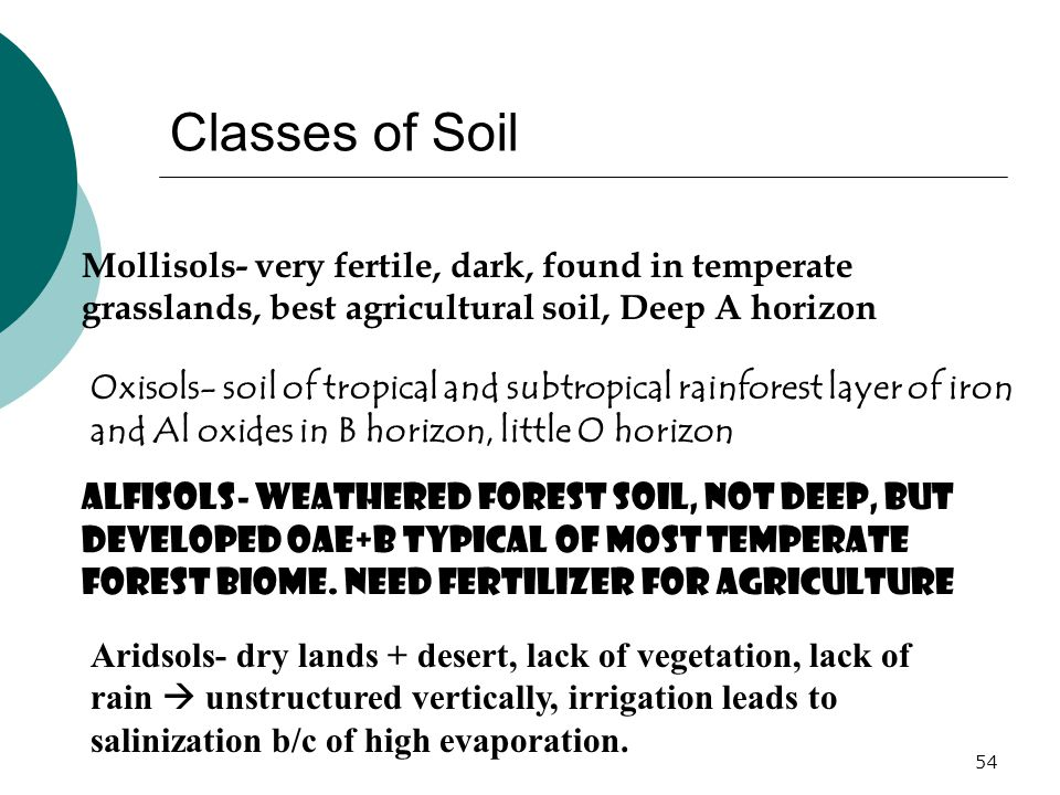 Classes of Soil Mollisols- very fertile, dark, found in temperate grasslands, best agricultural soil, Deep A horizon Oxisols- soil of tropical and subtropical rainforest layer of iron and Al oxides in B horizon, little O horizon Alfisols- weathered forest soil, not deep, but developed OAE+B typical of most temperate forest biome.