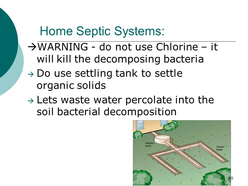 Home Septic Systems:  WARNING - do not use Chlorine – it will kill the decomposing bacteria  Do use settling tank to settle organic solids  Lets waste water percolate into the soil bacterial decomposition 89
