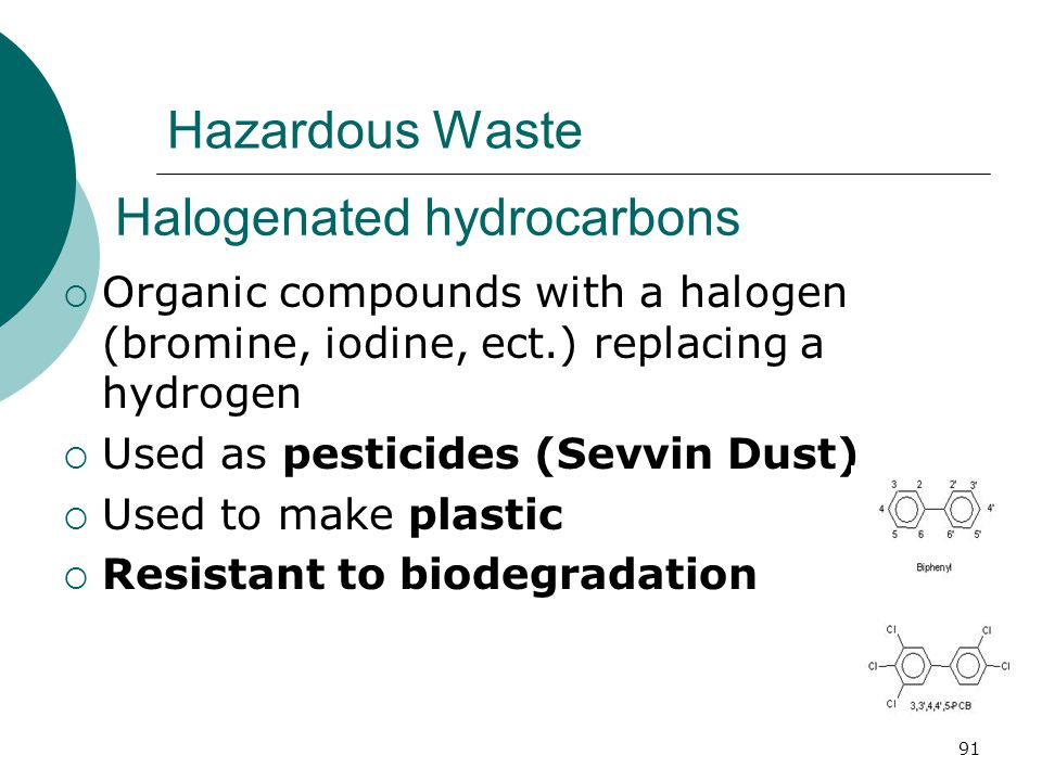 Hazardous Waste Halogenated hydrocarbons  Organic compounds with a halogen (bromine, iodine, ect.) replacing a hydrogen  Used as pesticides (Sevvin Dust)  Used to make plastic  Resistant to biodegradation 91