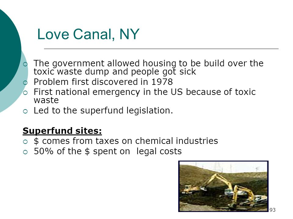 Love Canal, NY  The government allowed housing to be build over the toxic waste dump and people got sick  Problem first discovered in 1978  First national emergency in the US because of toxic waste  Led to the superfund legislation.