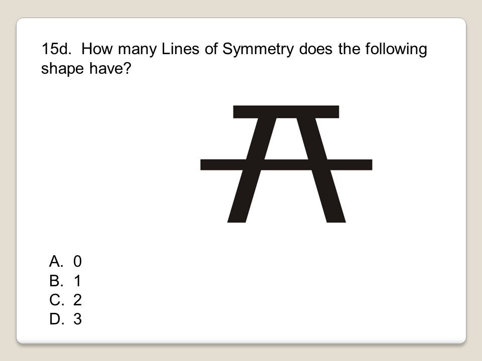 15d. How many Lines of Symmetry does the following shape have? A.0 B.1 C.2 D.3