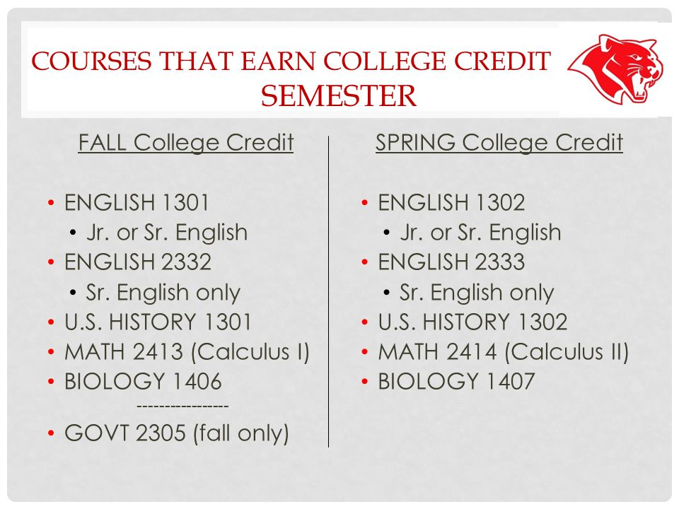 YEAR-LONG COURSES EARNING COLLEGE CREDIT ONLY ONE SEMESTER: SPRING SEMESTER: FALL SEMESTER: (BOTH HIGH SCHOOL (HIGH SCHOOL CREDIT ONLY)AND COLLEGE CREDIT ) College Algebra -no college credit- College Algebra DC MATH 1314 Statistics -no college credit- Statistics DC MATH 1342 Calculus I -no college credit- Calculus I DC MATH 2413 Anatomy & Physiology -no college credit- Anatomy DC BIOL 2401 General Chem -no college credit- Chemistry DC CHEM 1411