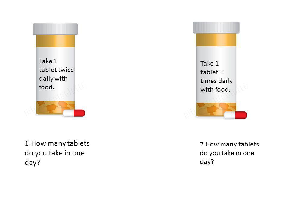 Take 1 tablet in AM, 2 at lunch, 2 at dinner.Take 2 tablets 3 times daily with food.