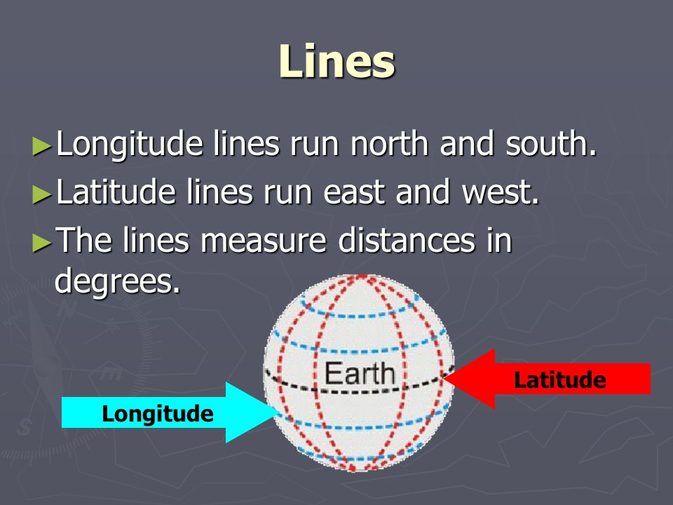 Lines ► Longitude lines run north and south. ► Latitude lines run east and west. ► The lines measure distances in degrees. Latitude Longitude