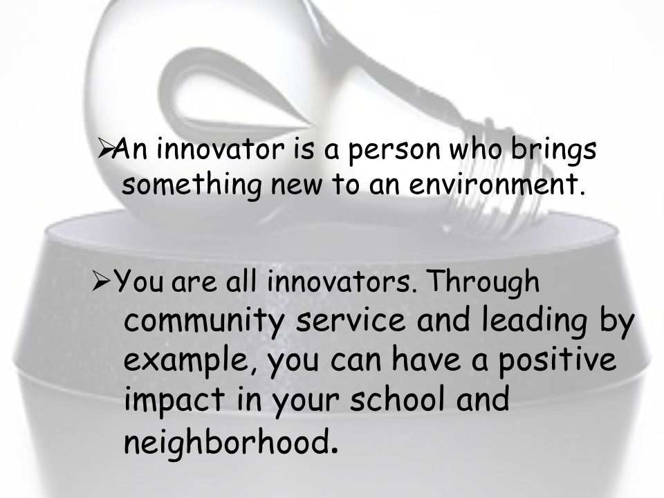 Panthers What You Need For Ancient World History Class: Team Name: Innovators What is an innovator?