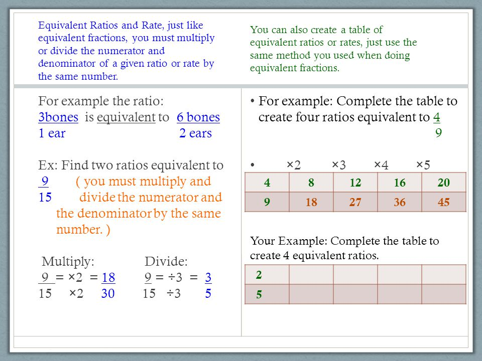 Equivalent Ratios and Rate, just like equivalent fractions, you must multiply or divide the numerator and denominator of a given ratio or rate by the