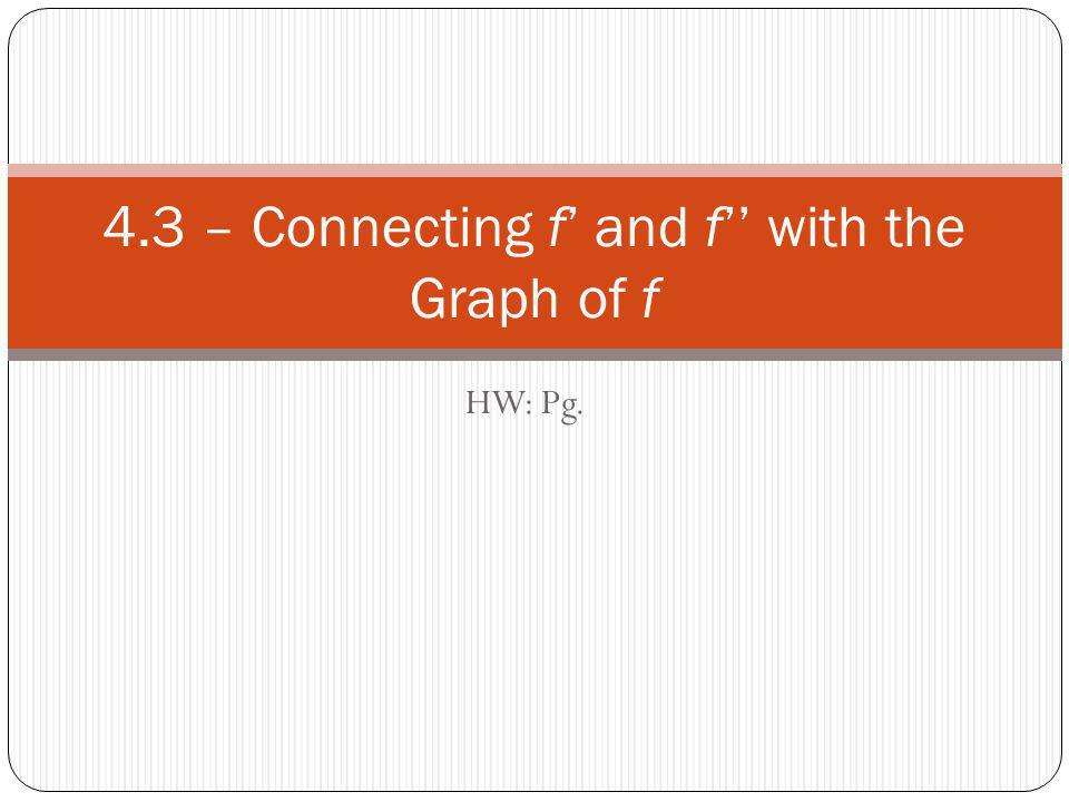 HW: Pg. 4.3 – Connecting f' and f'' with the Graph of f