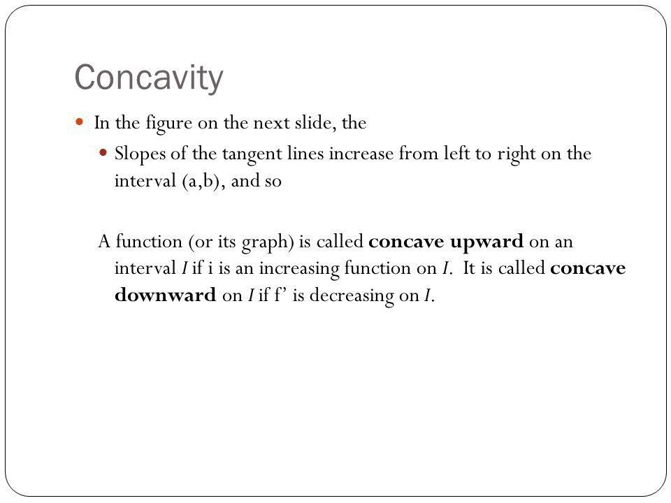 Concavity Concave ___________: F' is decreasing  f'' < 0 Concave ___________: F' is increasing  f'' > 0
