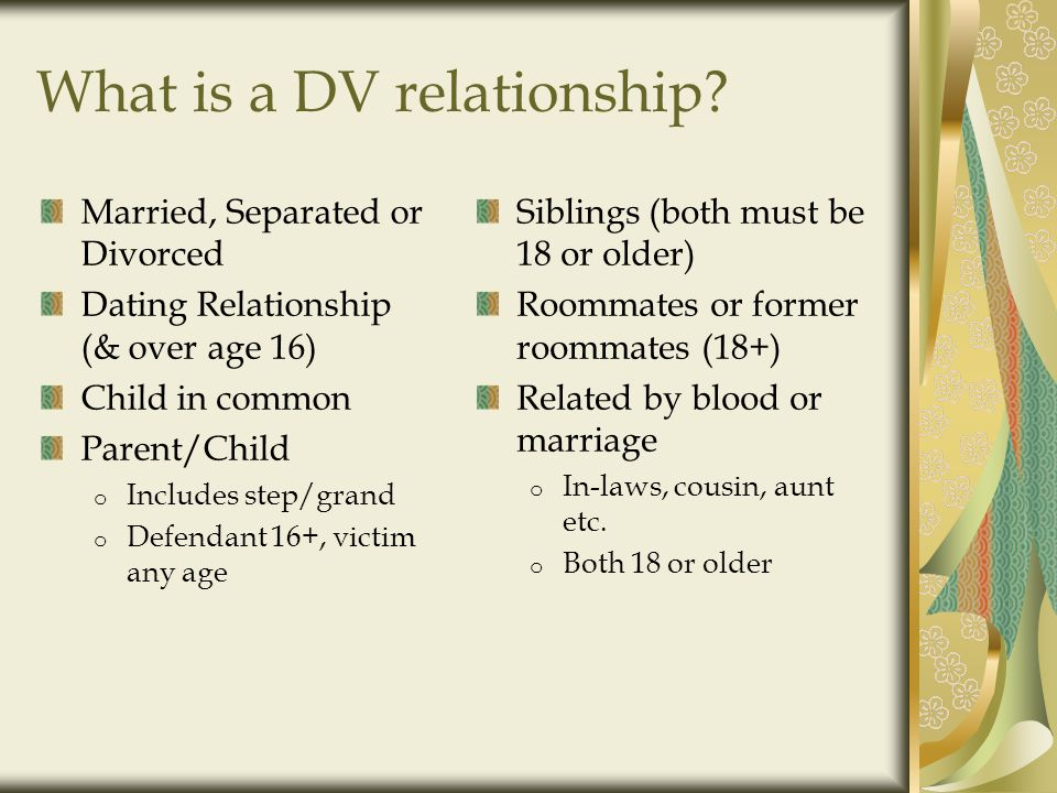 DV Dynamics for Teens Repetitive phone calls or texts Emotional and verbal abuse Jealousy Isolation Battery Forced sexual contact or intercourse Sexting Stalking Cyberbullying