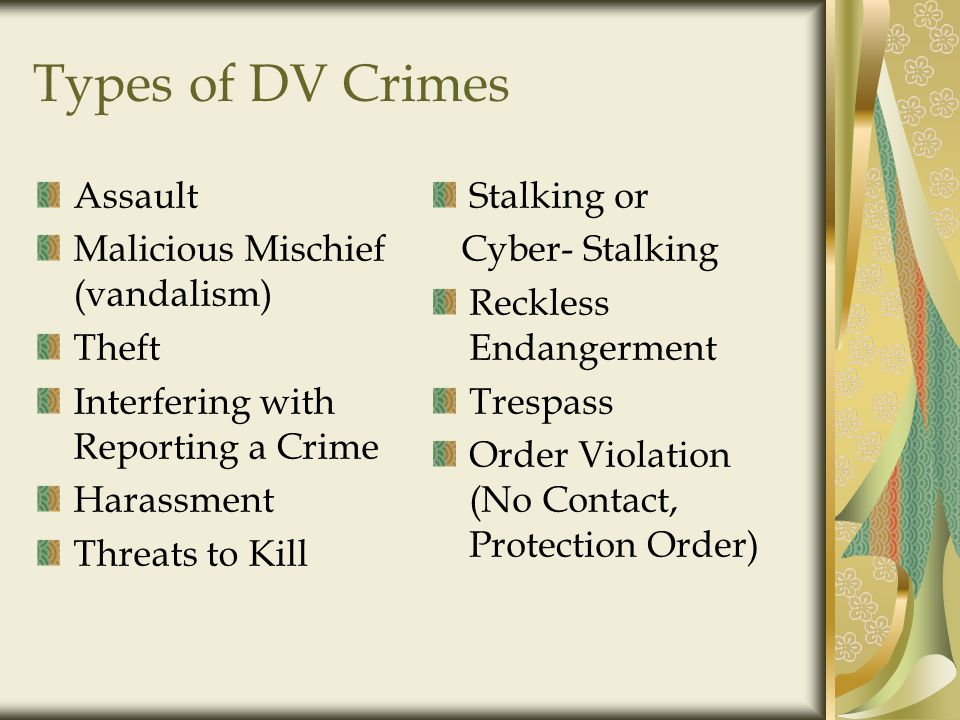 Types of DV Crimes Assault Malicious Mischief (vandalism) Theft Interfering with Reporting a Crime Harassment Threats to Kill Stalking or Cyber- Stalking Reckless Endangerment Trespass Order Violation (No Contact, Protection Order)