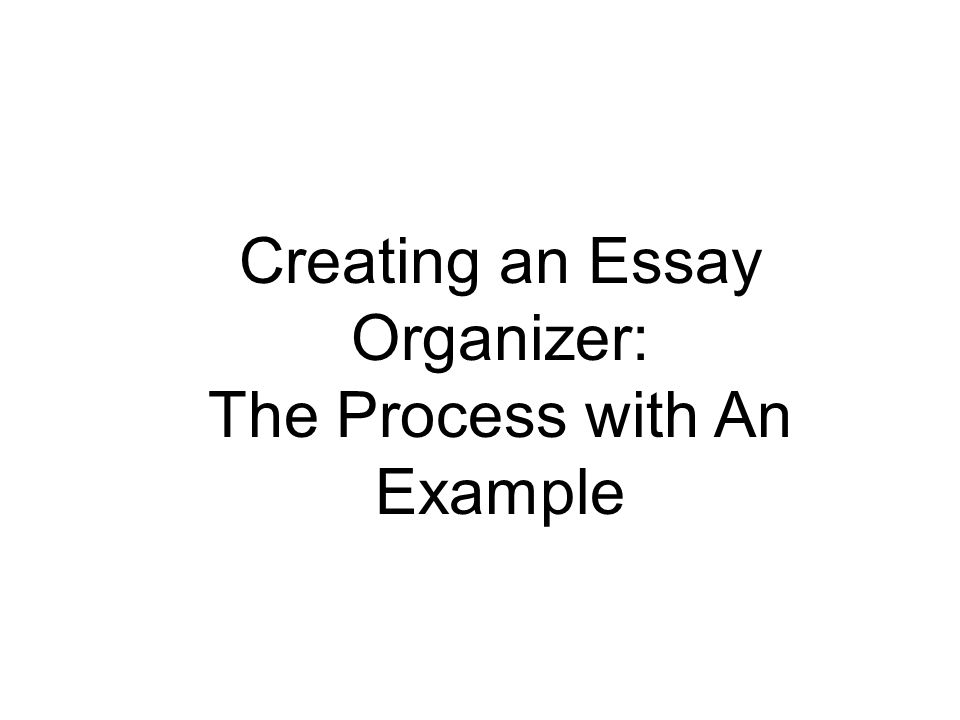 Creating an Essay Organizer: The Process with An Example
