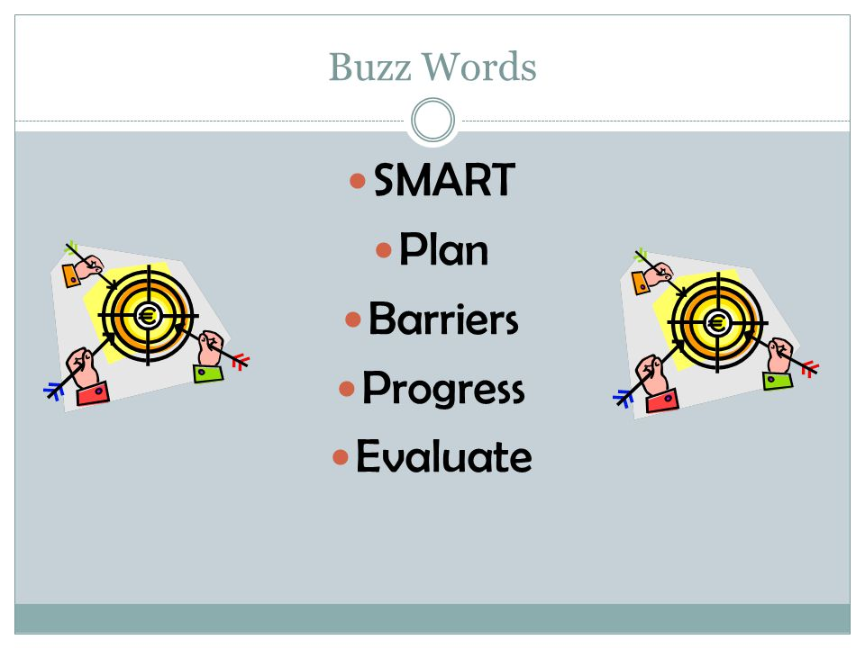 Buzz Words SMART Plan Barriers Progress Evaluate