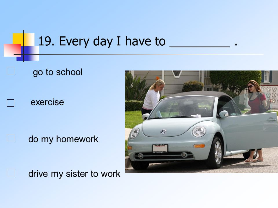 19. Every day I have to _________. go to school exercise do my homework drive my sister to work