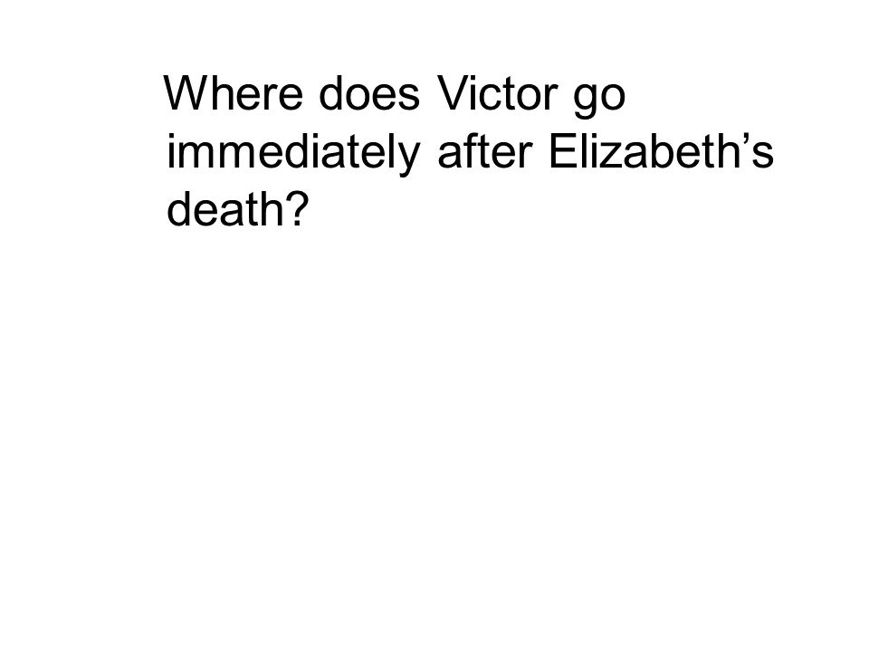 Where does Victor go immediately after Elizabeth's death