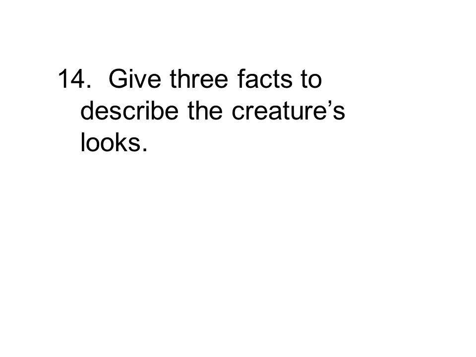 14. Give three facts to describe the creature's looks.