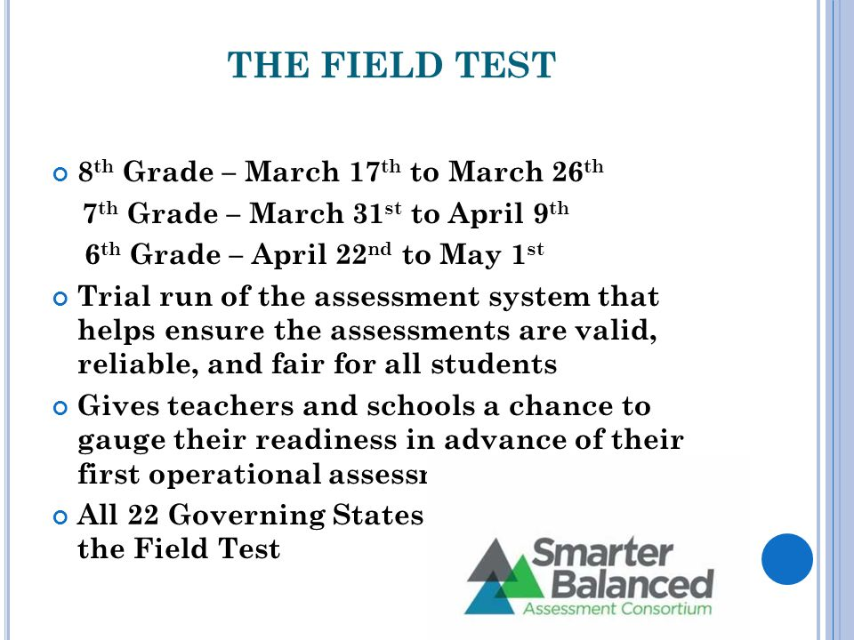 THE FIELD TEST 8 th Grade – March 17 th to March 26 th 7 th Grade – March 31 st to April 9 th 6 th Grade – April 22 nd to May 1 st Trial run of the assessment system that helps ensure the assessments are valid, reliable, and fair for all students Gives teachers and schools a chance to gauge their readiness in advance of their first operational assessment in spring 2015 All 22 Governing States will participate in the Field Test