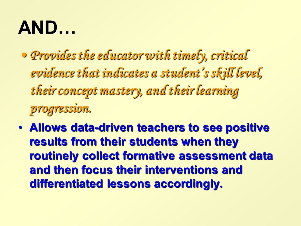Formative Instructional Data…..