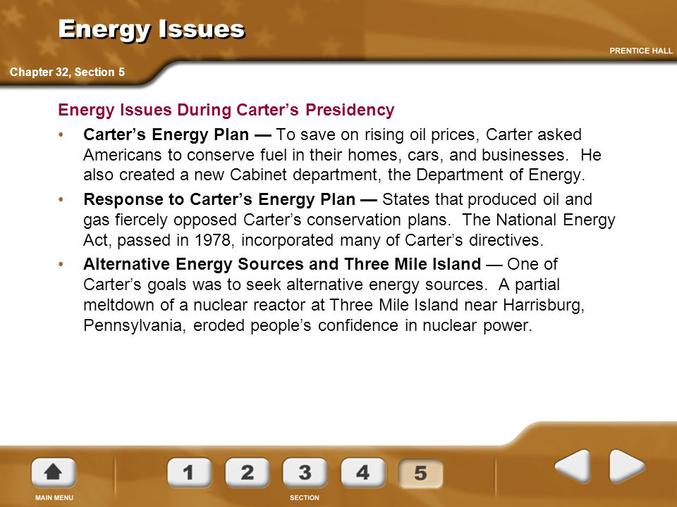 Energy Issues Energy Issues During Carter's Presidency Carter's Energy Plan — To save on rising oil prices, Carter asked Americans to conserve fuel in