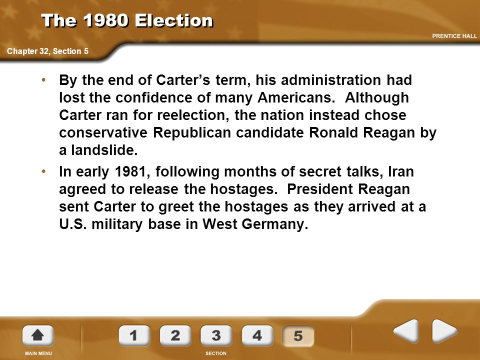 The 1980 Election By the end of Carter's term, his administration had lost the confidence of many Americans. Although Carter ran for reelection, the n