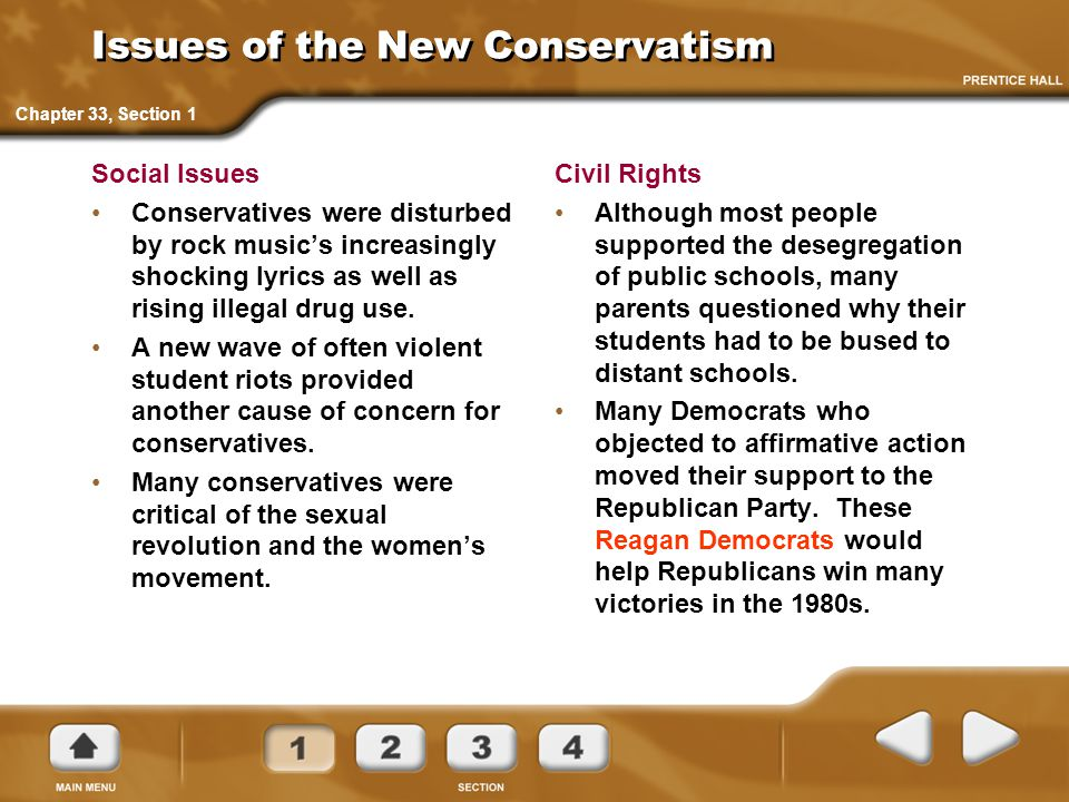 Issues of the New Conservatism Social Issues Conservatives were disturbed by rock music's increasingly shocking lyrics as well as rising illegal drug