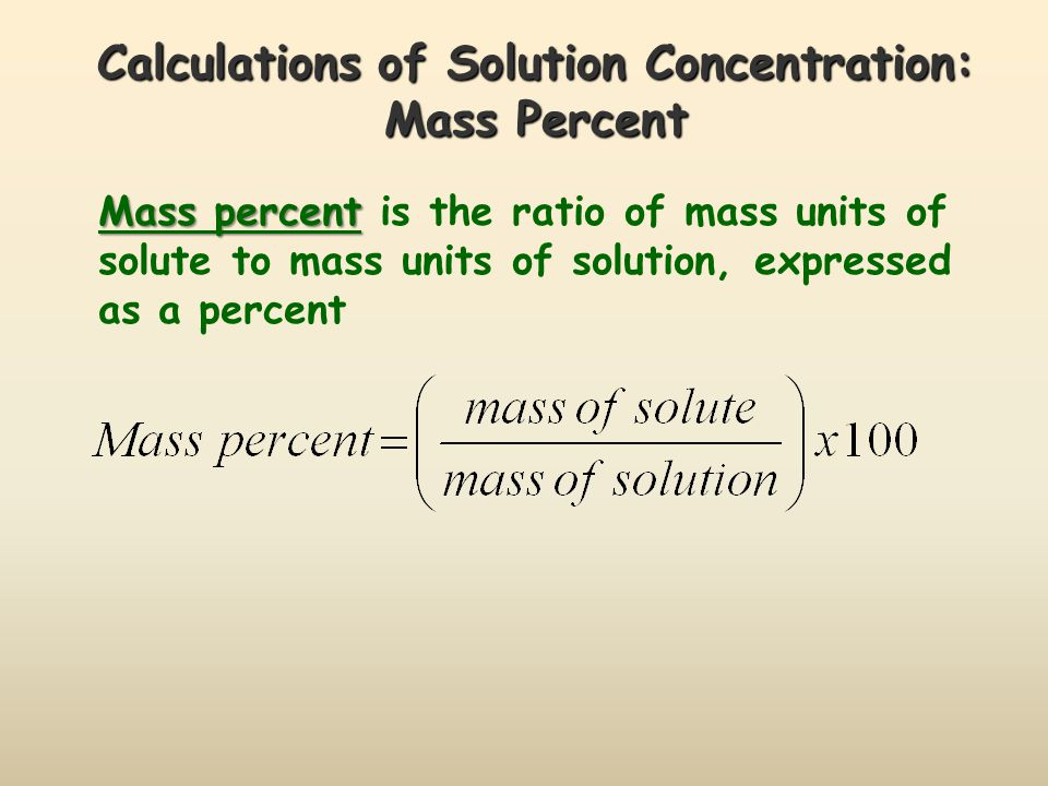 Calculations of Solution Concentration: Parts per Million Parts per million Parts per million is the ratio of mass units of solute to mass units of solution, multiplied by one million (10 6 )